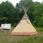 Chad's tipi sits along the path up to Blueberry Mountain