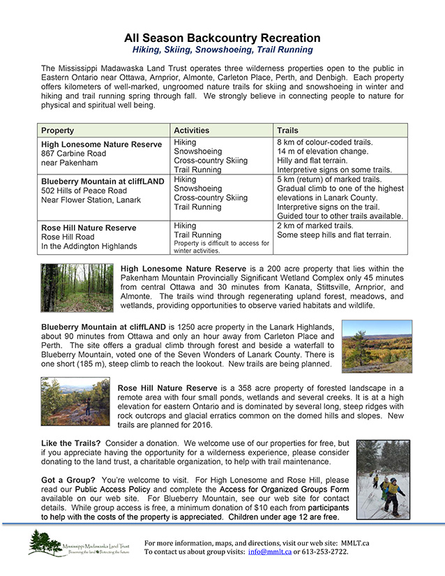 MMLT Outdoor Recreation Brochure